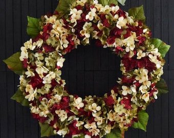 Christmas Blended Hydrangea Wreath - Red Green and Cream Holiday Front Door Wreath