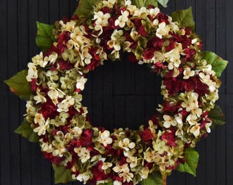 Red Green and Cream Blended Hydrangea Christmas Front Door Wreath