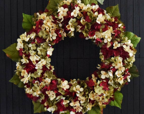 Red Green and Cream Blended Hydrangea Front Door Wreath