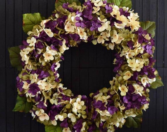 Purple Blended Hydrangea Front Door Wreath