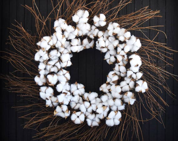 Cotton Stem and Twig Rustic Farmhouse Front Door or Fireplace Wreath