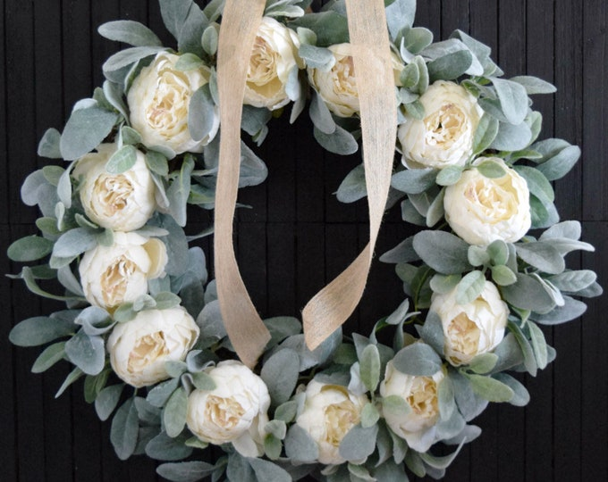 White Peony and Lambs Ear Romantic Farmhouse Wreath