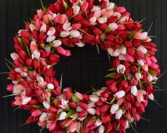 Red Blend Tulip Front Door Wreath - Valentines Day Wreath - Spring Summer Tulip Wreath