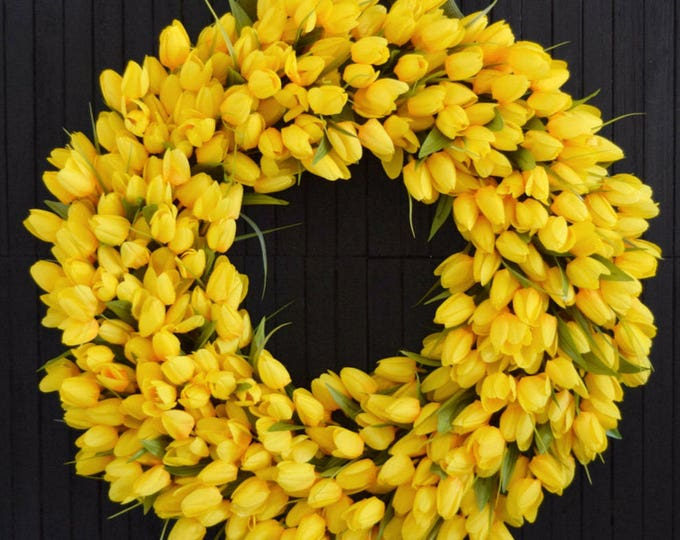 Yellow Tulip Spring and Summer Front Door Wreath - Easter Wreath - Mothers Day Gift
