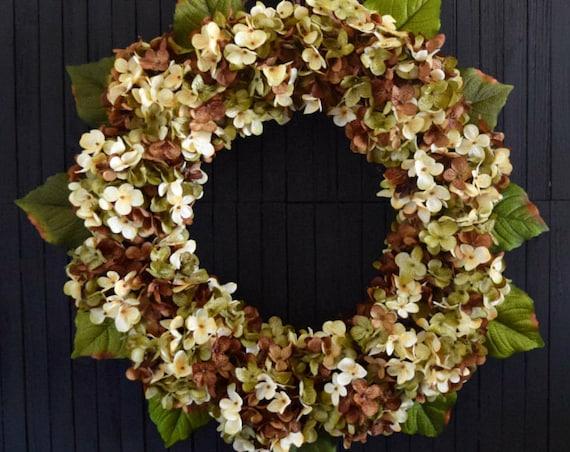 Blended Hydrangea Autumn Front Door Wreath - Green, Brown and Cream
