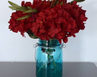 Red Hydrangea Arrangement in Turquoise Blue Mason Jar Vase