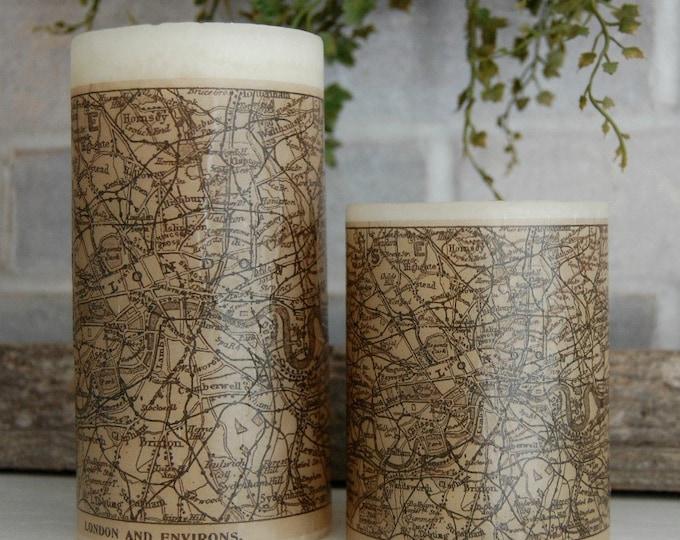 London Antique Map Pillar Candle