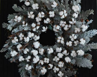Cotton and Cedar Farmhouse Christmas Holiday Oversized Winter Front Door Wreath