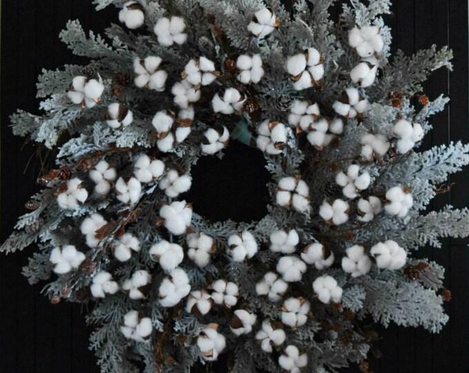 Cotton and Cedar Farmhouse Christmas Holiday Oversized Winter Front Door Wreath