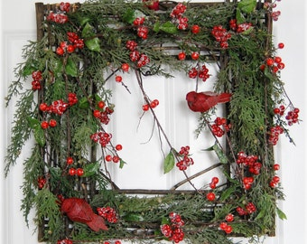 Rustic Square Christmas Wreath for Front Door - Square Juniper Evergreen Wreath with Red Berries and Birds - Christmas Gift Idea