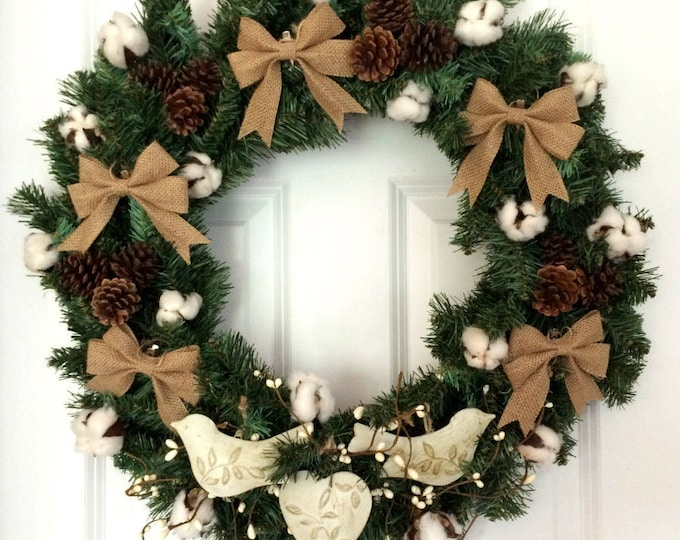 Vintage Style Christmas Evergreen Wreath