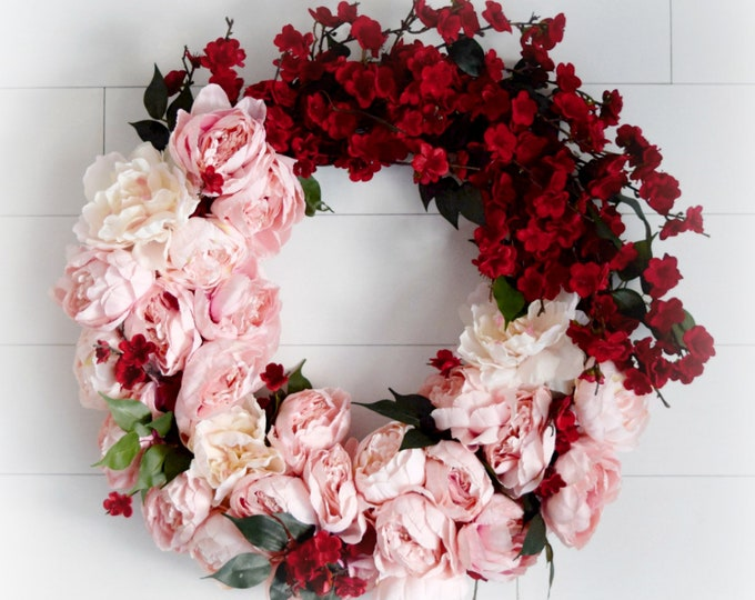 Pink Peony and Red Cherry Blossom Luxurious Spring and Summer Front Door Wreath