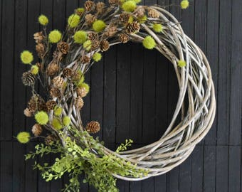 Rustic Woodland Greenery and Pine Cone Autumn and Winter Front Door Wreath