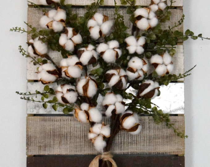 Cotton and Greenery Rustic Pallet Wall Hanging - Industrial Farmhouse Decor