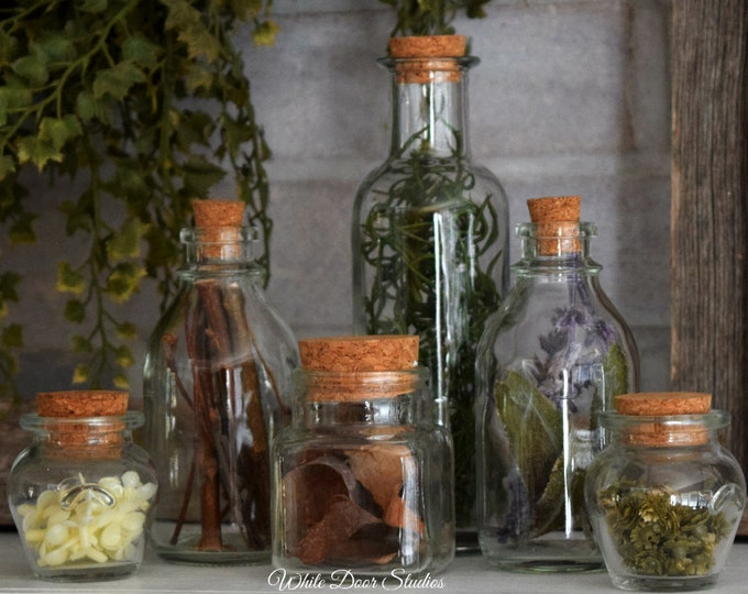 Decorative Herbal Apothecary Bottles - Set of 6 - Unique Apothecary Potion Bottle Home Decor