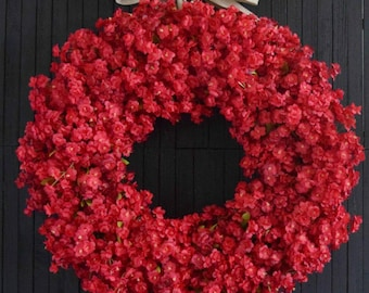 Red Ruffle Flower Front Door Wreath - Summer and Fall Wreath