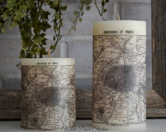 Paris Antique Map Pillar Candle