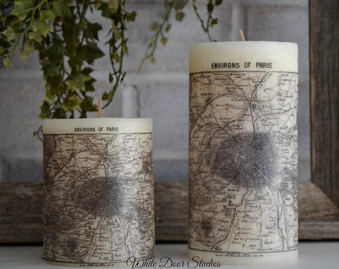Paris Antique Map Pillar Candle