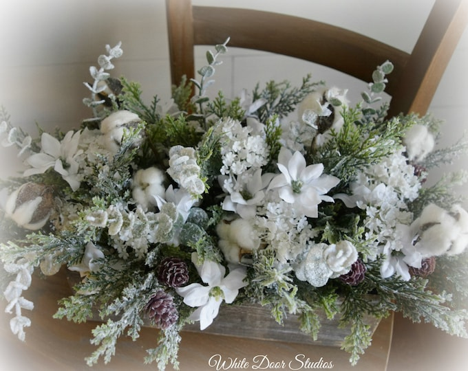 Christmas White Floral Cotton and Evergreen Rustic Farmhouse Centerpiece - Christmas Tabletop Decoration