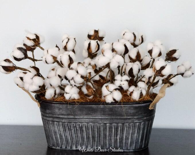Cotton Stem Centerpiece in Metal Planter - Farmhouse Decor
