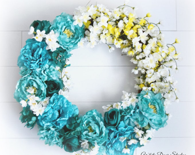 Teal and White Floral Spring and Summer Front Door Wreath