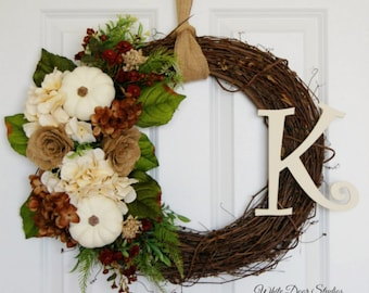 Personalized Fall Pumpkin and Hydrangea Front Door Wreath