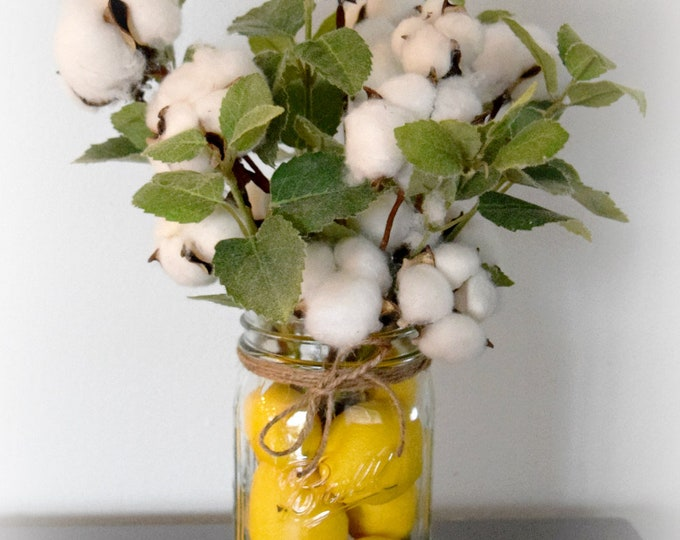 Cotton Stem and Greenery Arrangement in Lemon Filled Mason Jar - Farmhouse Kitchen Decor - Housewarming Gift