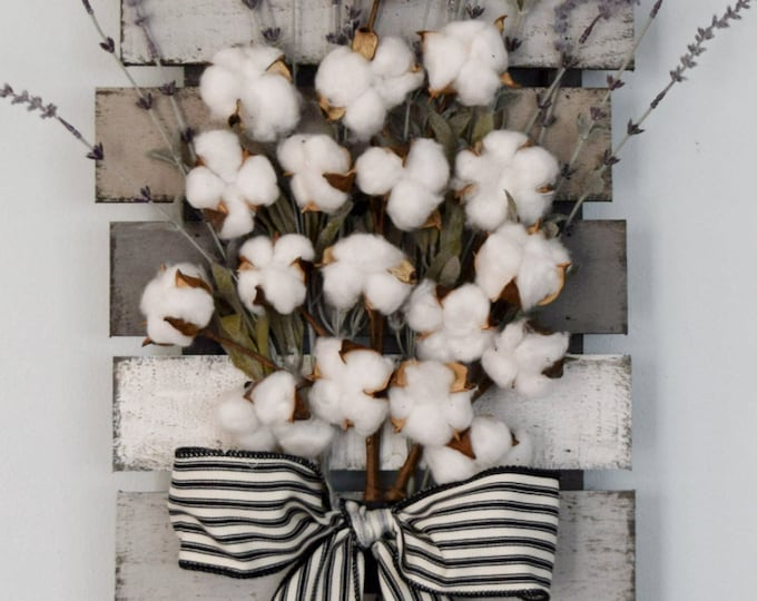 Farmhouse Cotton and Lavender Pallet Style Wall Decor - Best Selling Original Design by White Door Studios