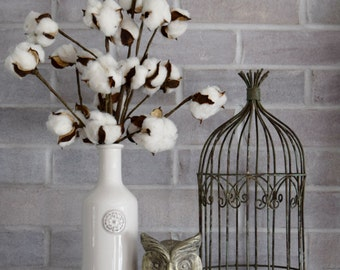 Cotton Stems in White Vase - Farmhouse Cotton Decor - Second Anniversary Gift