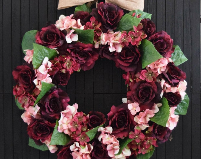 Pink and Burgundy Floral Wreath - Valentines Day