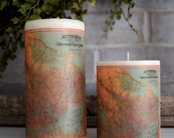 New York Antique Map Pillar Candle - Christmas Hostess Gift Idea