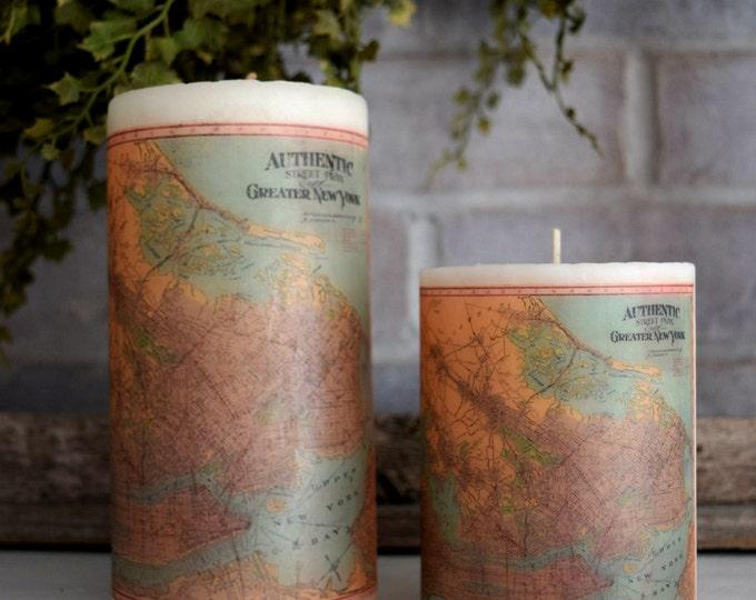 New York Antique Map Pillar Candle - Christmas Hostess Gift Idea