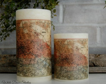 Berlin Antique Map Decorative Pillar Candle