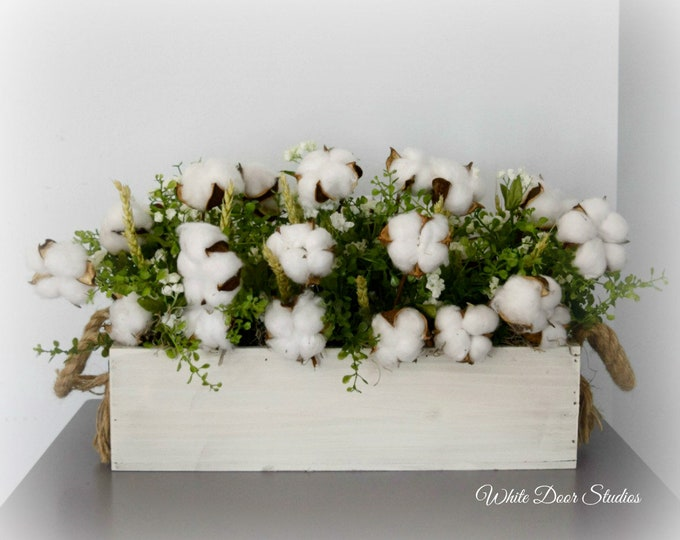 Cotton Greenery and Babys Breath Farmhouse Style Centerpiece in White Wood Planter