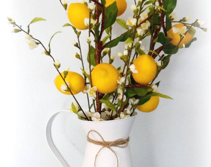 Farmhouse Lemon Branch and Cherry Blossom Arrangement in White Pitcher
