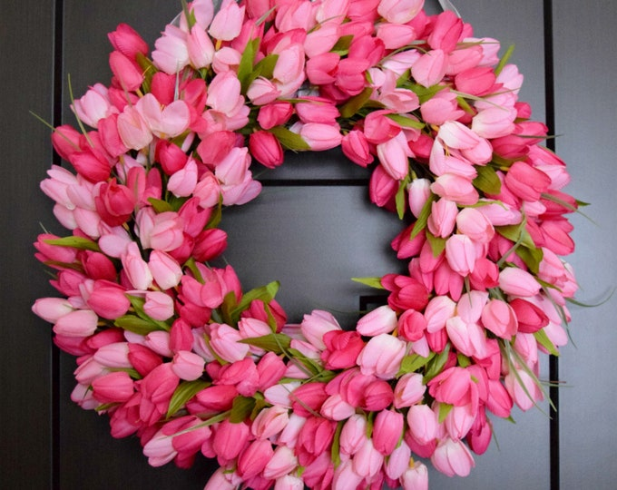 Pink Tulip Spring and Summer Front Door Wreath - Easter Wreath - Pink Wedding Decor - Mothers Day Gift