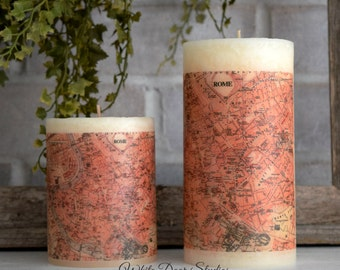 Rome Antique Map Pillar Candle