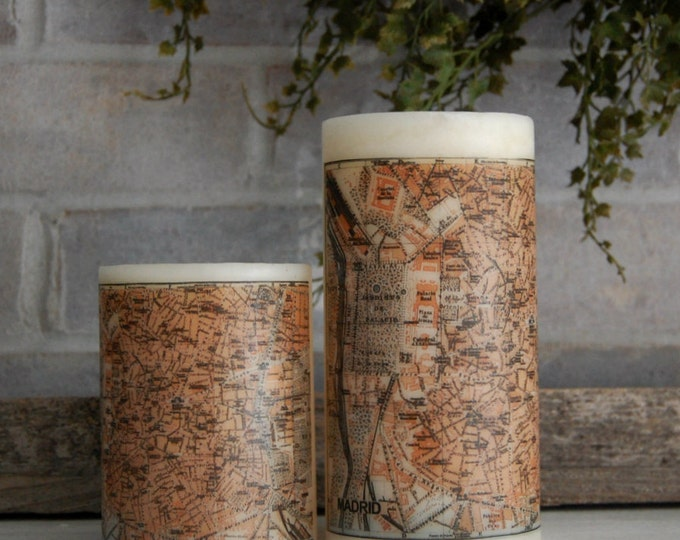 Madrid Antique Map Pillar Candle, Vintage Map Candle, Madrid Spain Travel Decor, Home Accents, Decorative Candle