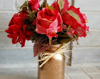 Pink Rose Arrangement in Copper Mason Jar