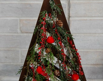 Rustic Wood Christmas Tree Tabletop Decor