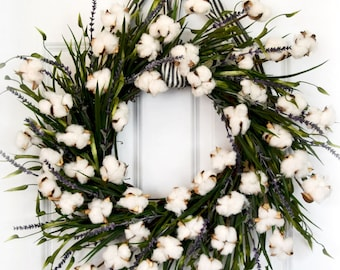 Cotton and Lavender Farmhouse Front Door Wreath with Greenery - Over the Bed Wreath