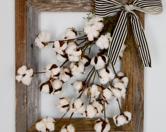Rustic Barnwood Framed Cotton Stems Farmhouse Wall Decor