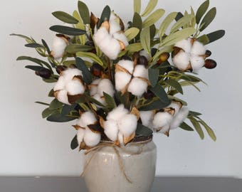 Cotton Stem Arrangement with Olive Branches