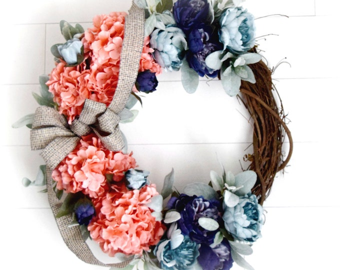 Coral Hydrangea and Blue Peony Luxurious Spring and Summer Front Door Wreath
