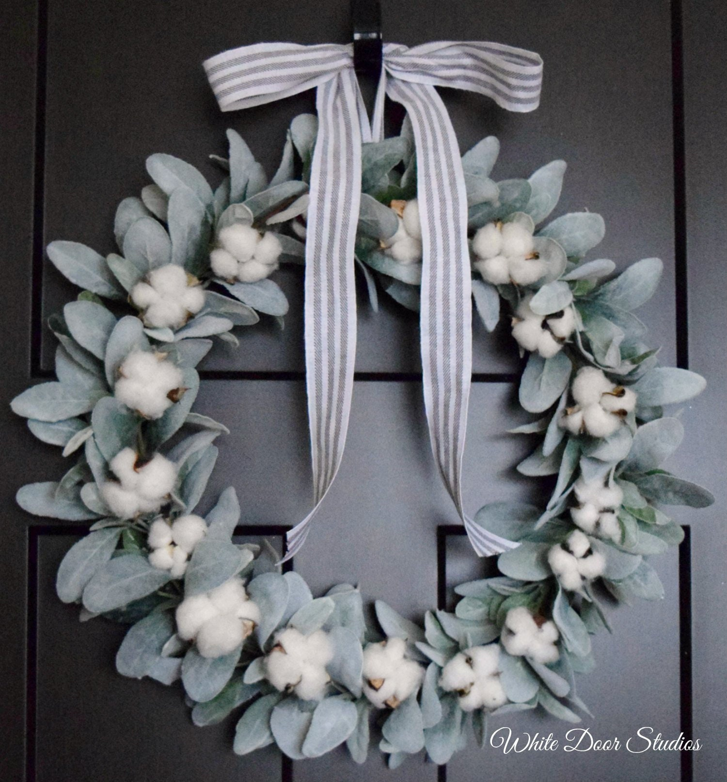 Simple Lambs Ear And Cotton Farmhouse Front Door Wreath Storm