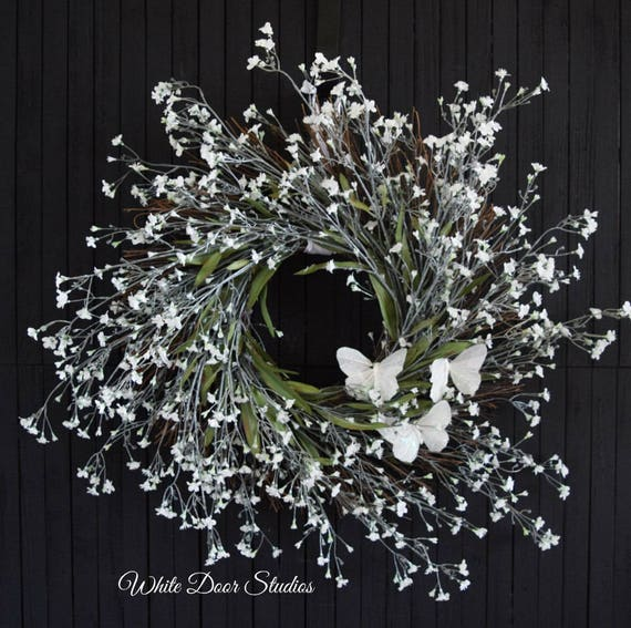 White Baby's Breath and Butterfly Wreath