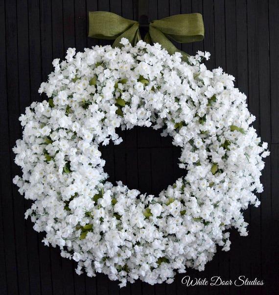 White Ruffle Flower Front Door Wreath