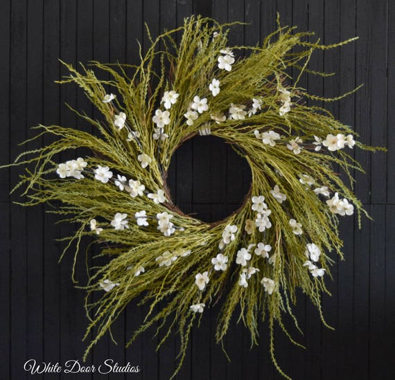 Rustic Grass and White Flower Fall Front Door Wreath