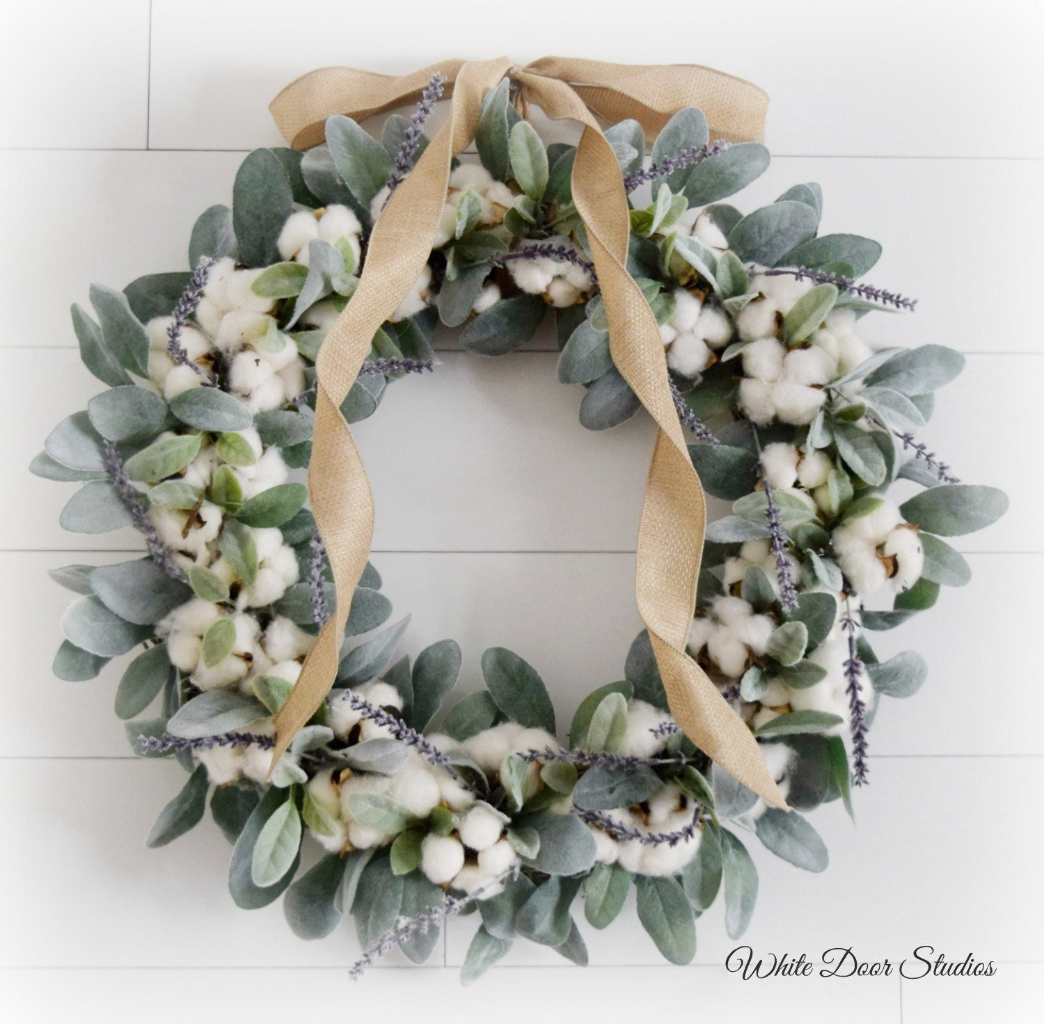 Lambs Ear And Cotton Romantic Farmhouse Front Door Wreath With