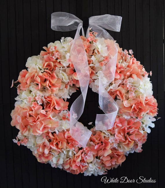 Peaches and Cream Hydrangea Front Door Wreath for Spring and Summer